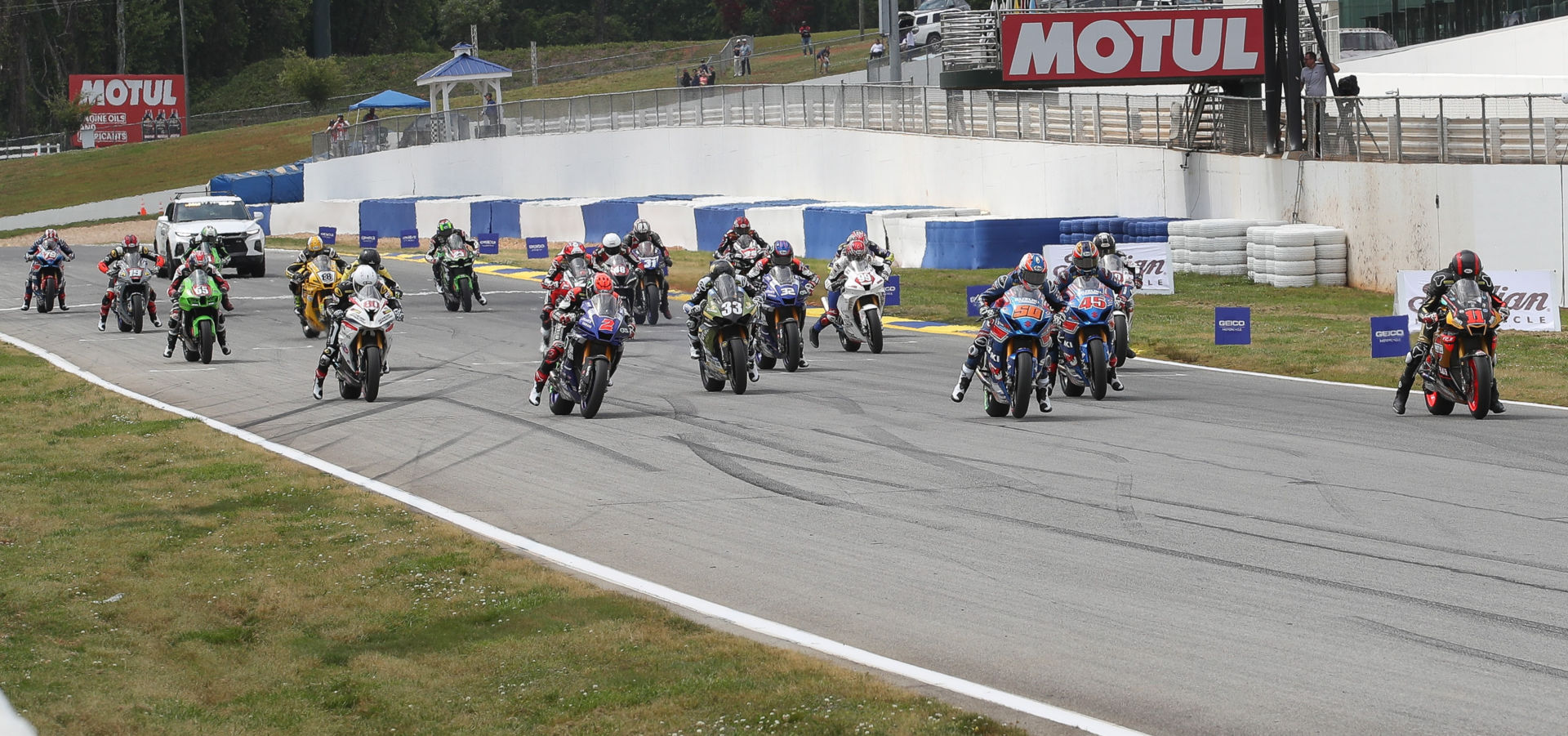 The start of MotoAmerica Superbike Race Two at Road Atlanta. Photo by Brian J. Nelson.