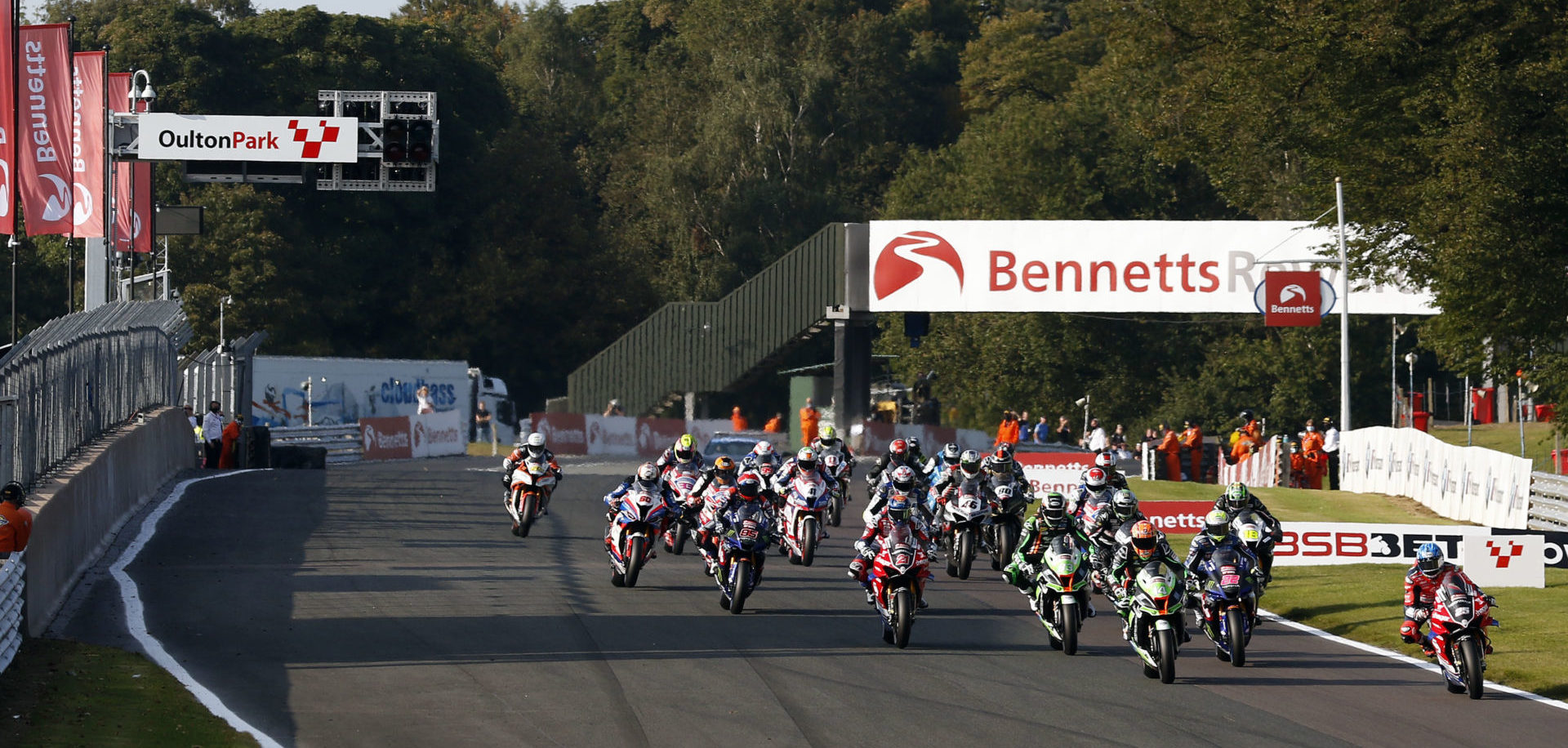 The start of a previous British Superbike race at Oulton Park. Photo courtesy MSVR.