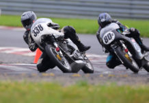 Tony Read (338) and Helmi Niederer (80R) racing for the lead at NJMP. Photo by Etechphotos.com, courtesy AHRMA.