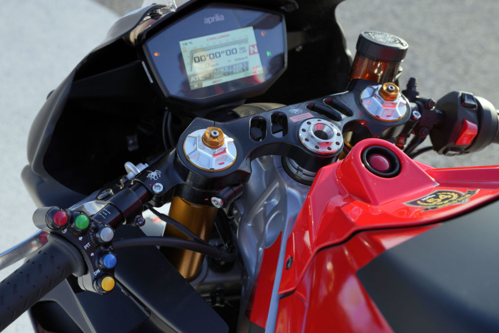 The cockpit of an Aprilia RS 660 Trofeo racebike. Photo courtesy Aprilia.