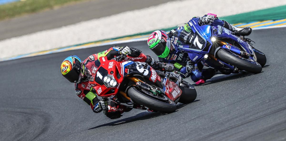 Yoshimura SERT Motul (1) leading YART Yamaha (7) at the 24 Hours of Le Mans. Photo courtesy Eurosport Events.