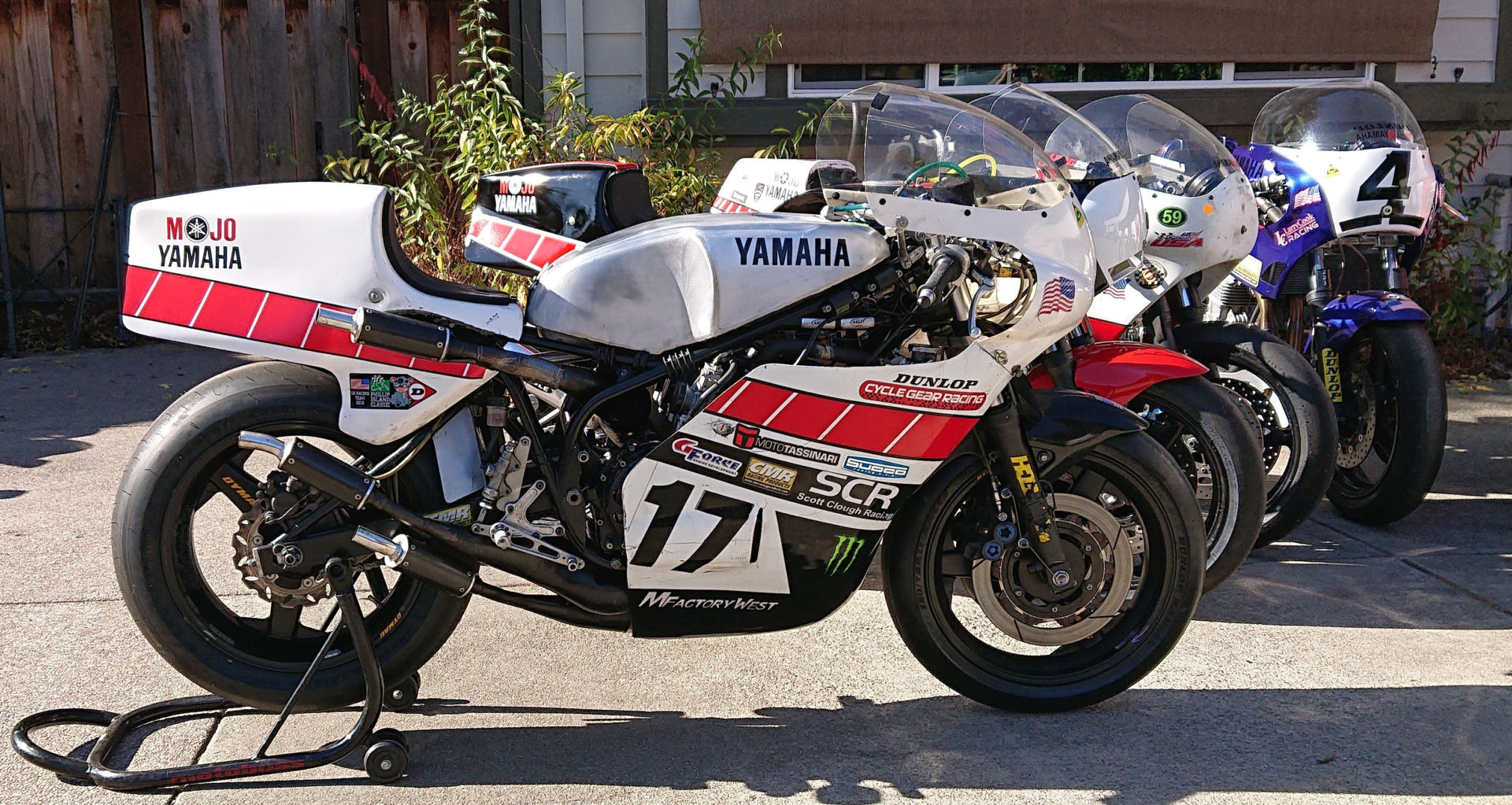 Some of Mojo Yamaha's TZ750 racebikes. Photo by Dave Crussell, courtesy AHRMA.