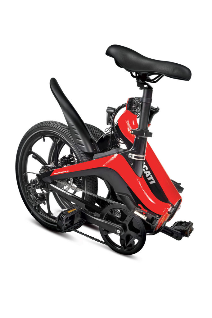 A Ducati MG-20 folding magnesium e-bike in the folded configuration. Photo courtesy Ducati.