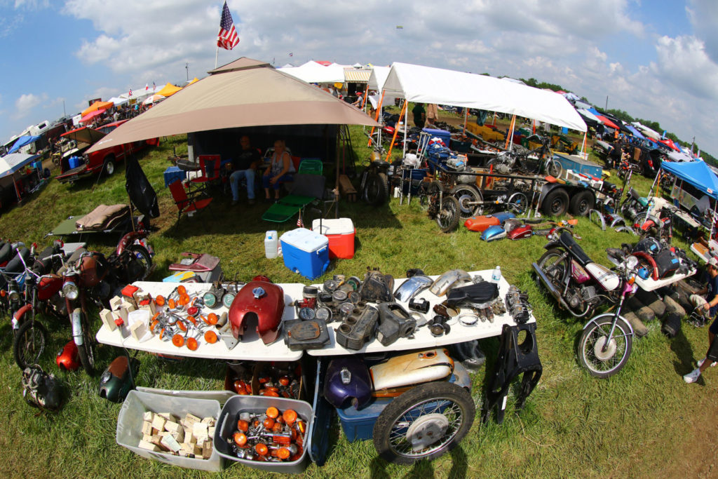 Part of the giant swap meet at AMA Vintage Days at Mid-Ohio, as seen in 2019. Photo courtesy AMA.