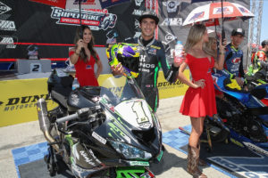Richie Escalante earned a pair of second-place finishes in Supersport at Laguna Seca despite riding injured. Photo by Brian J. Nelson.