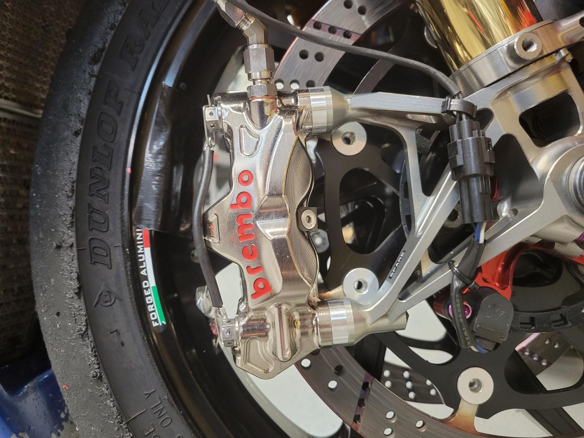Brembo racing brake caliper on a MotoAmerica Superbike. Photo by Keith Perry.