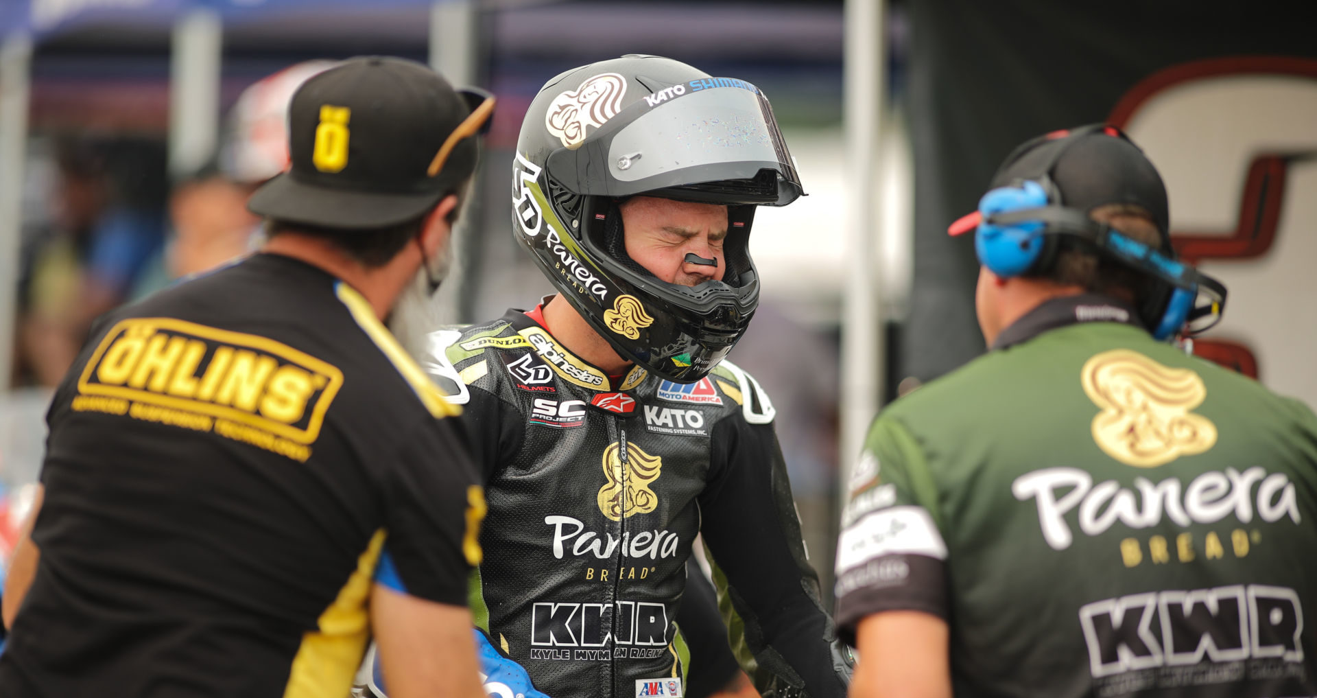 Kyle Wyman grimaces after riding his Panera Bread Ducati Superbike at Brainerd. Photo by Brian J. Nelson.