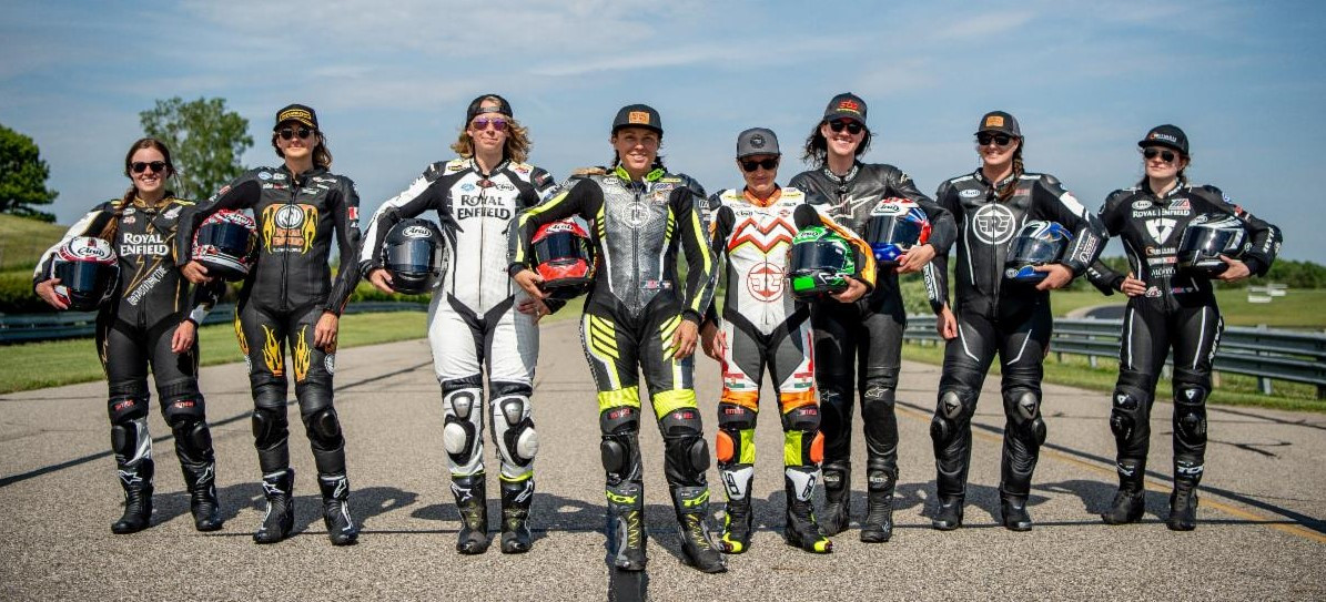 Melissa Paris (fourth from left) and the women of Royal Enfield BTR Road Race are ready to put their hard work to the test at Brainerd International Raceway this Sunday, August 1. Photo courtesy Royal Enfield North America.