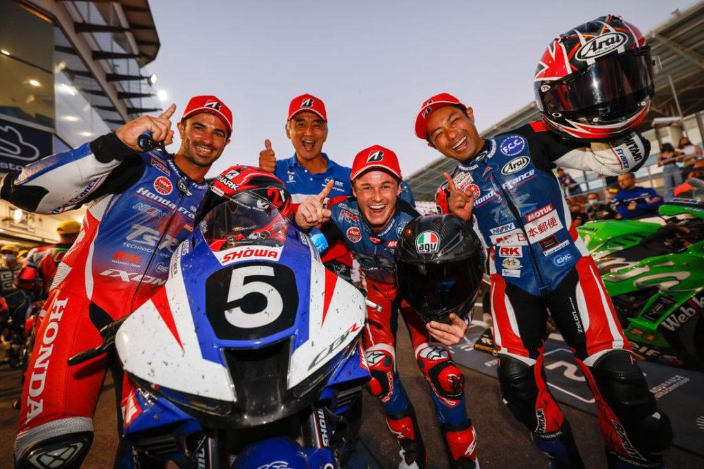 The winning team at Estoril included Mike De Meglio, Josh Hook, and Yuki Takahashi. Photo courtesy EWC.