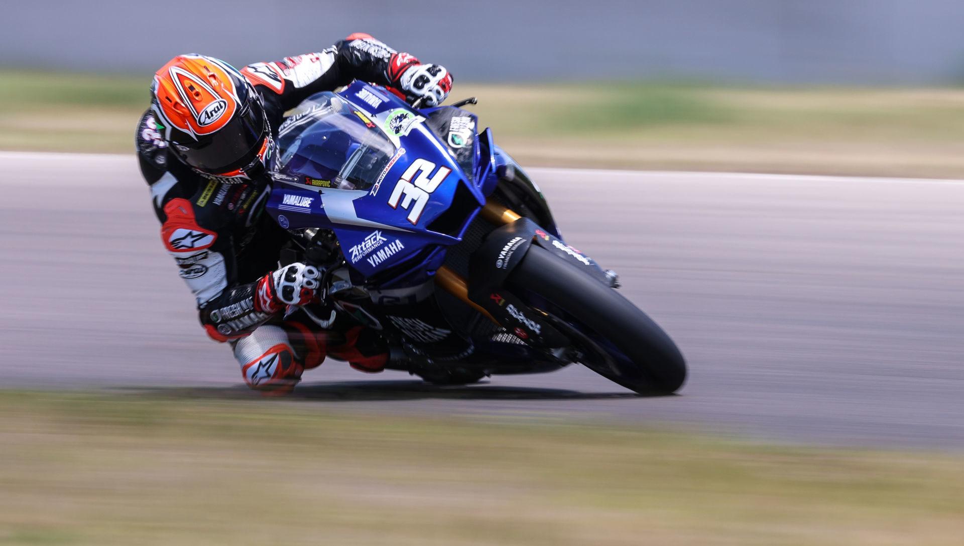Jake Gagne (32) during testing at Brainerd International Raceway. Photo by Brian J. Nelson.