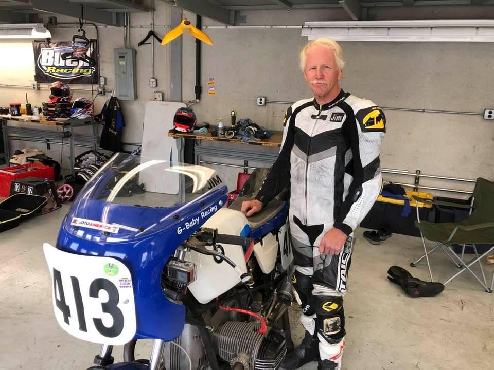 Jim Doyle and his vintage BMW racebike. Photo courtesy Jim Doyle.