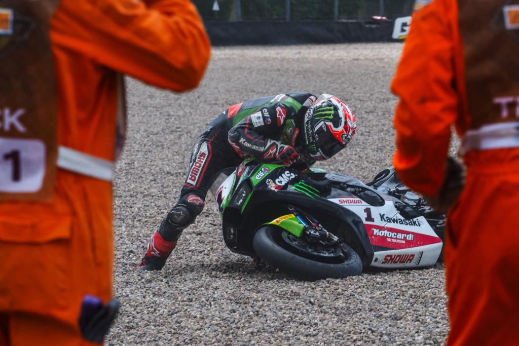 Jonathan Rea (1) crashed during Race Two. Photo courtesy Dorna WorldSBK Press Office.