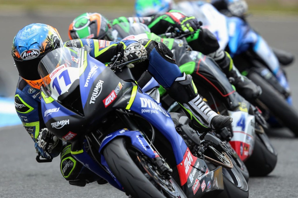 Kyle Smith (11) finished fourth in the British Supersport race Sunday at Knockhill. Photo courtesy Dynavolt Triumph.