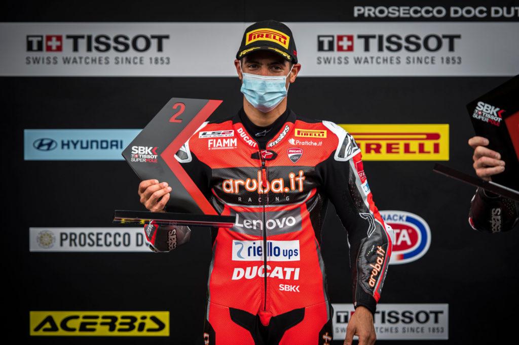 Michael Ruben Rinaldi on the Superpole Race podium. Photo courtesy Ducati.