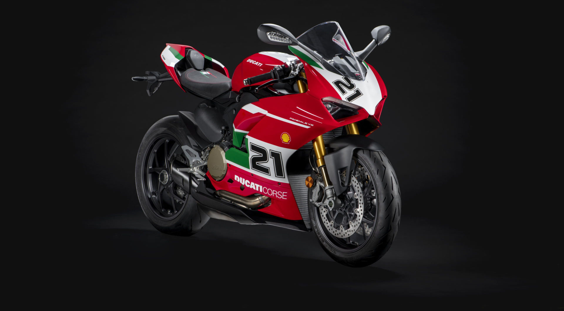 A Ducati Panigale V2 Bayliss 1st Championship 20th Anniversary edition motorcycle. Photo courtesy Ducati.