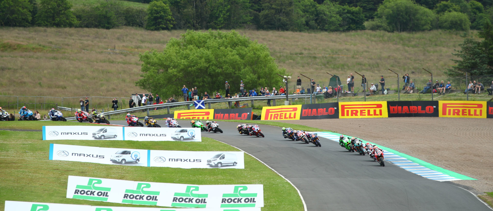 The start of British Superbike Race Two at Knockhill Circuit, in Scotland. Photo courtesy MotorSport Vision Racing.