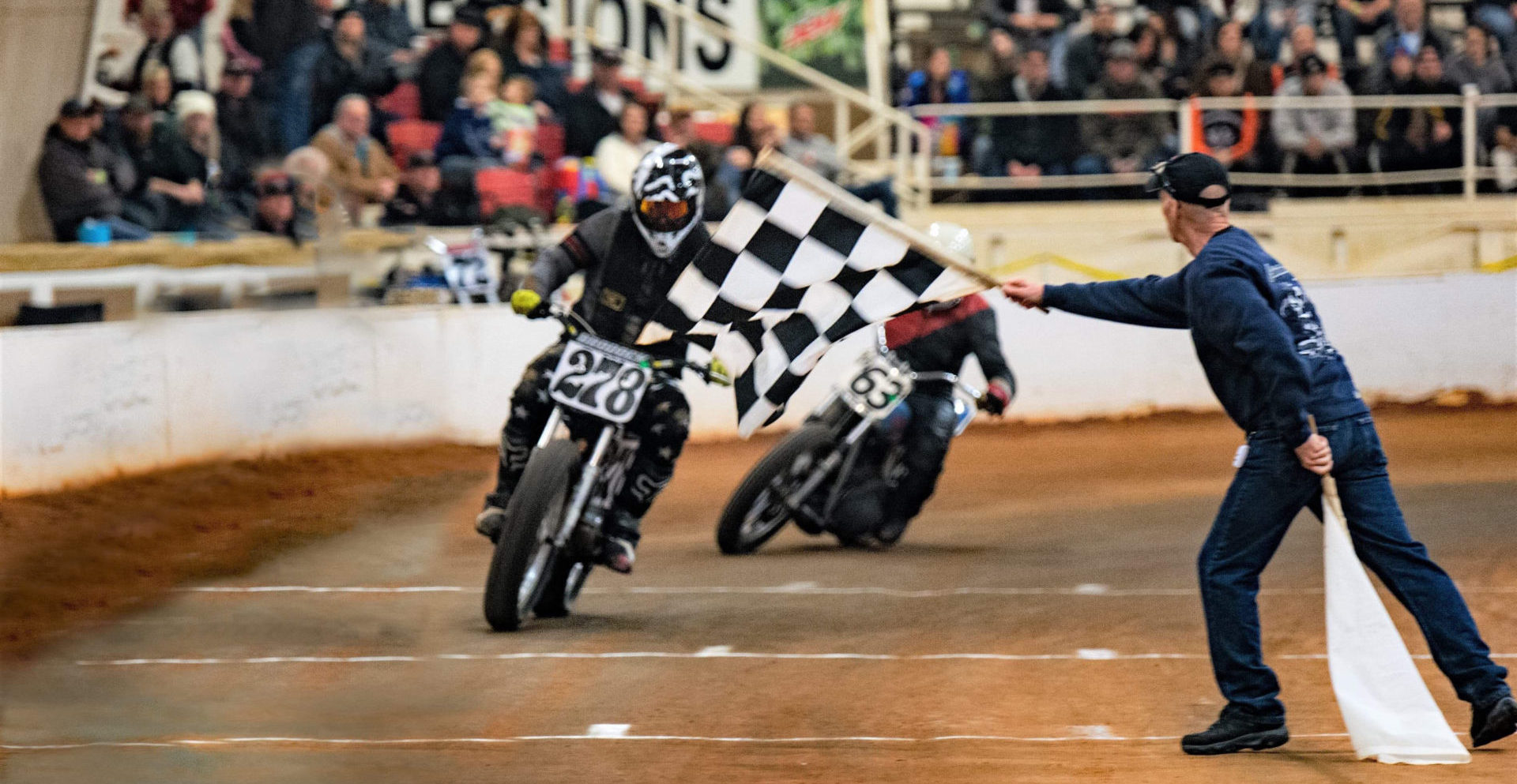 Richard Brodock (278) and Henry Sansing (63) during an AHRMA dirt track event in Georgia. Photo by Eddie RapidPhoto, courtesy AHRMA.