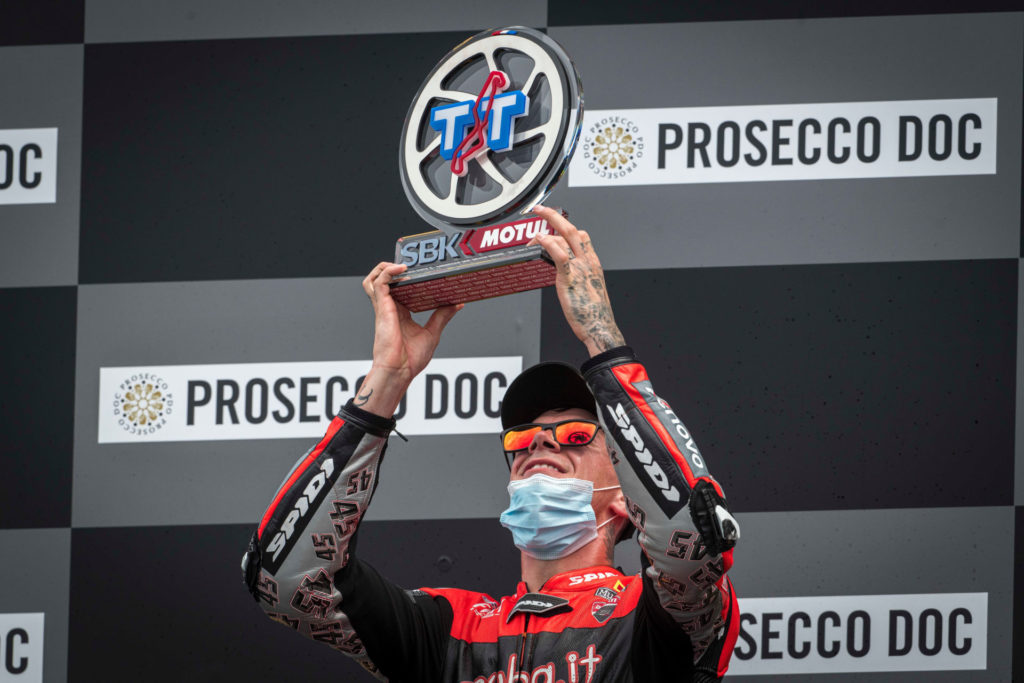 Scott Redding on the podium at Assen. Photo courtesy Ducati.