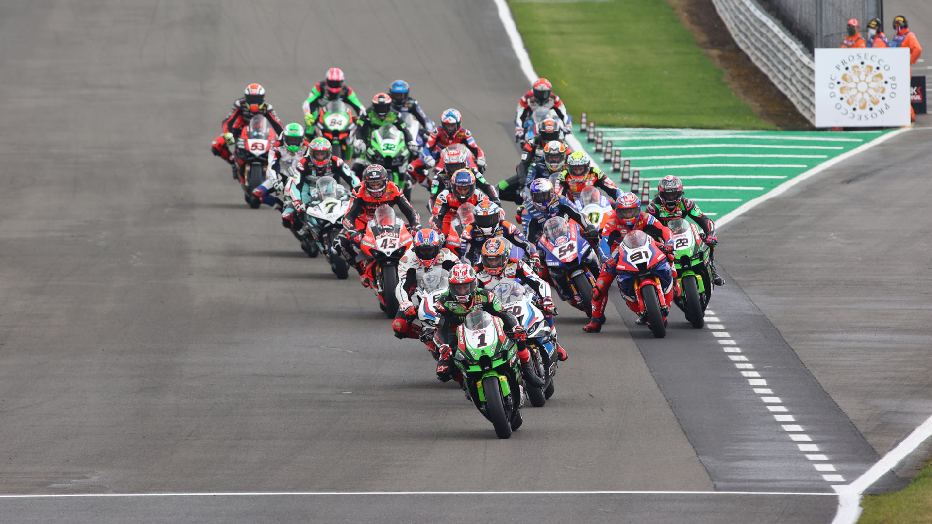 The start of a World Superbike race during Round Four at Donington Park. Photo courtesy Dorna.