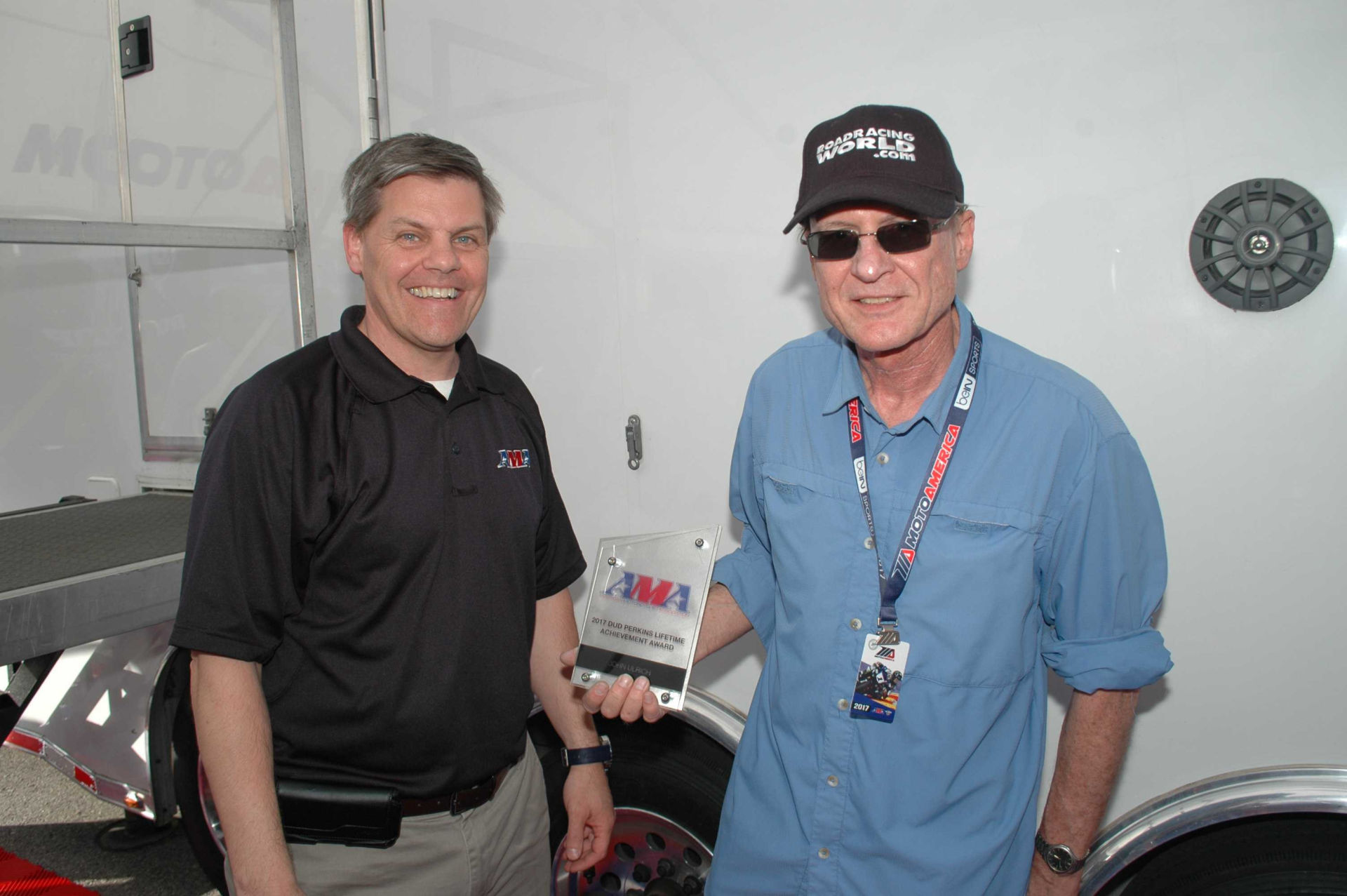 John Ulrich, a racer, a race team owner and the Founder, Vice President and Editor of Roadracing World & Motorcycle Technology, was presented with the AMA Dud Perkins Lifetime Achievement Award by AMA President and CEO Rob Dingman in a ceremony held in the MotoAmerica paddock Friday, April 21, 2017, at Circuit of The Americas. Photo by David Swarts.