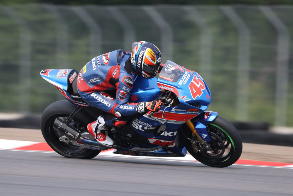 Cam Petersen (45) fought hard and earned two top-five finishes at Brainerd, MN. Photo by Brian J. Nelson, courtesy Suzuki Motor USA, LLC.