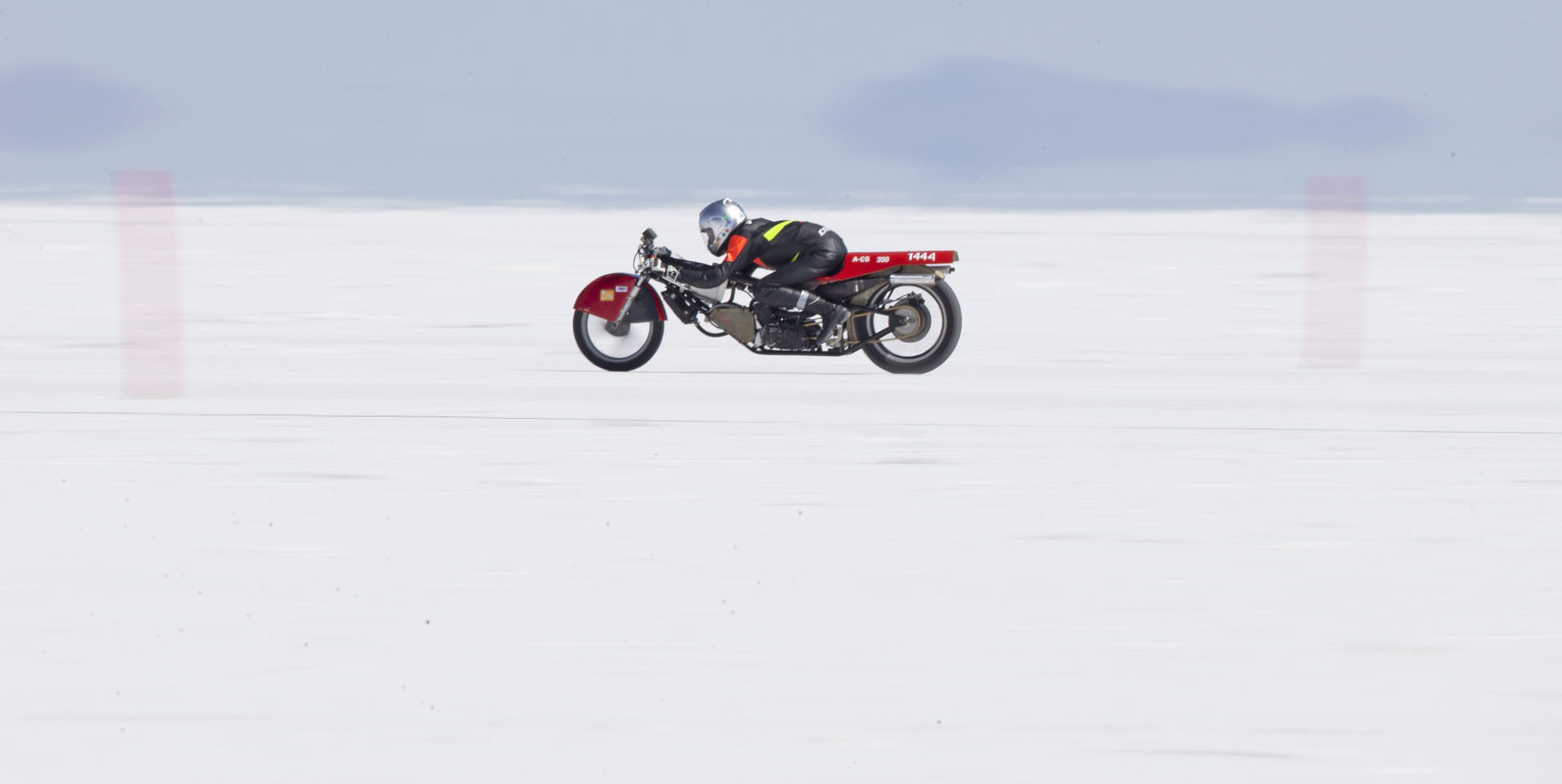 A land speed motorcycle at speed at the Bonneville Sale Flats in Utah. Photo courtesy AMA.