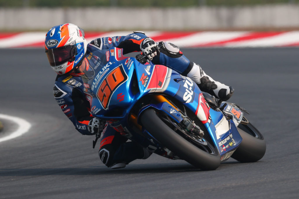 Bobby Fong (50) looked strong with a solid second place finish on his Suzuki GSX-R1000R on Saturday. Photo by Brian J. Nelson, courtesy Suzuki Motor USA, LLC.