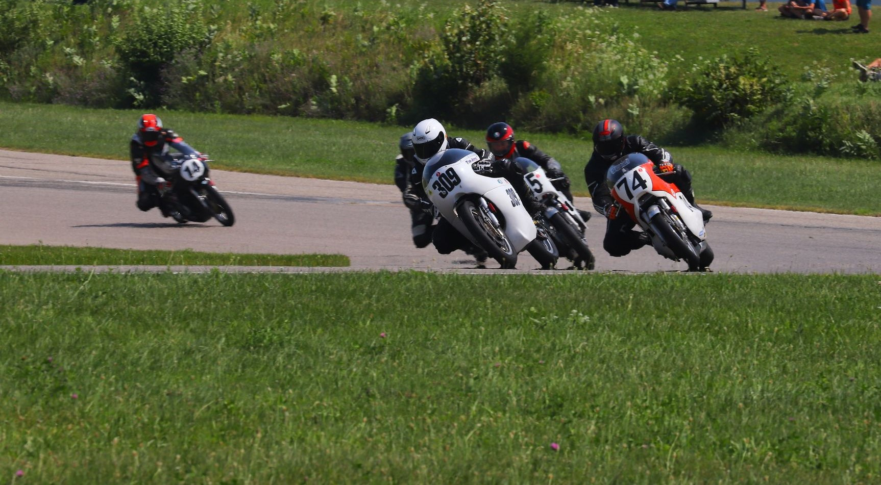 Tim Joyce (309), Wes Orloff (74), Andrew Mauk (X95, behind Joyce), and Brian Larrabure (14) at the start of an AHRMA Vintage Cup race at Gingerman Raceway. Photo by etechphoto.com, courtesy AHRMA.