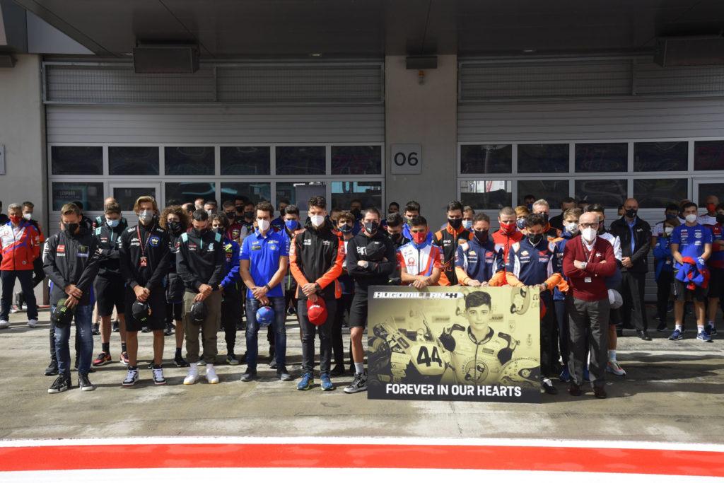 The MotoGP paddock paid tribute to fallen racer Hugo Millan Thursday in Austria. Photo courtesy Dorna.