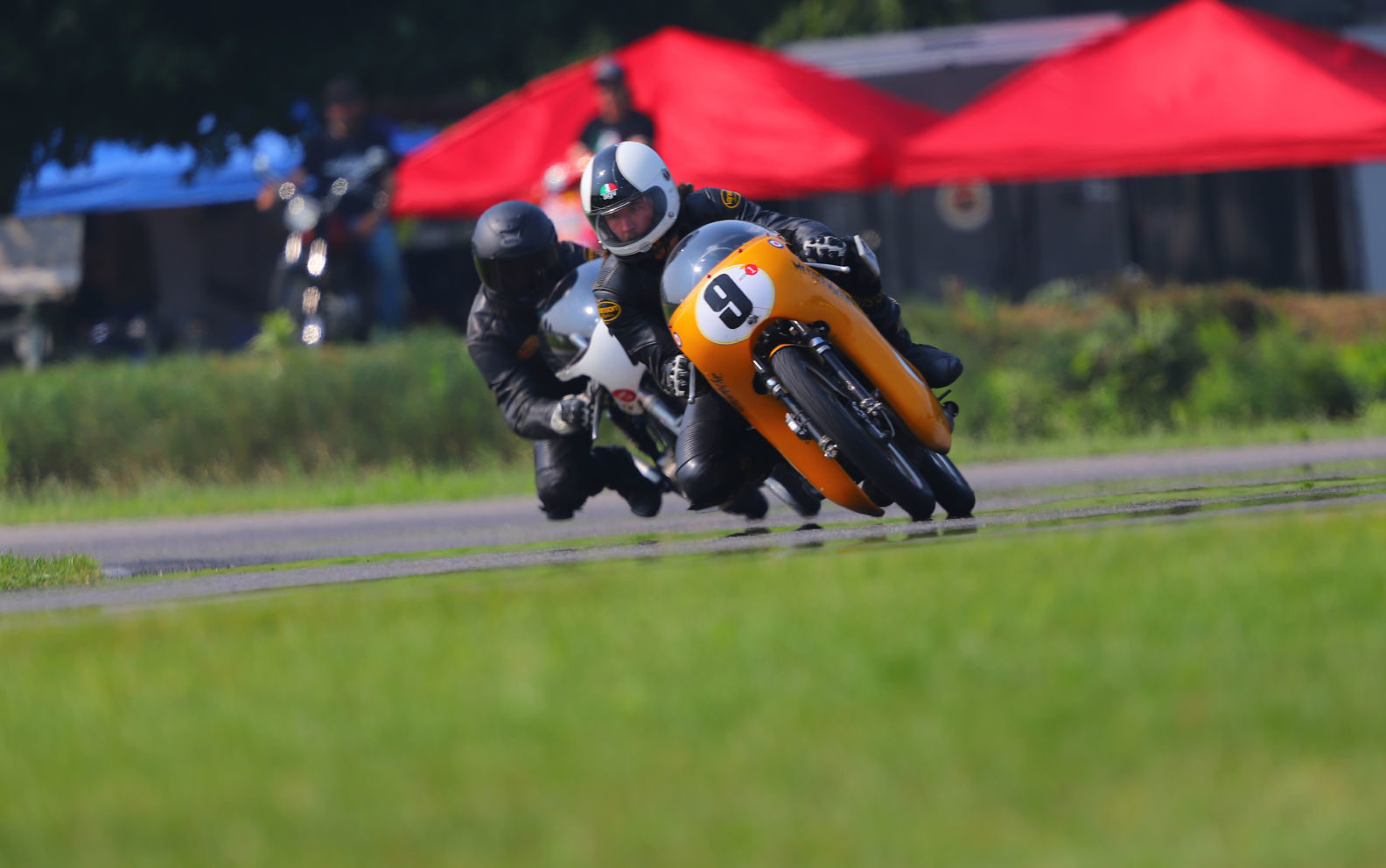 Colton Roberts (9) during the Formula 125 race at Gingerman Raceway. Photo by etechphoto.com, courtesy AHRMA.