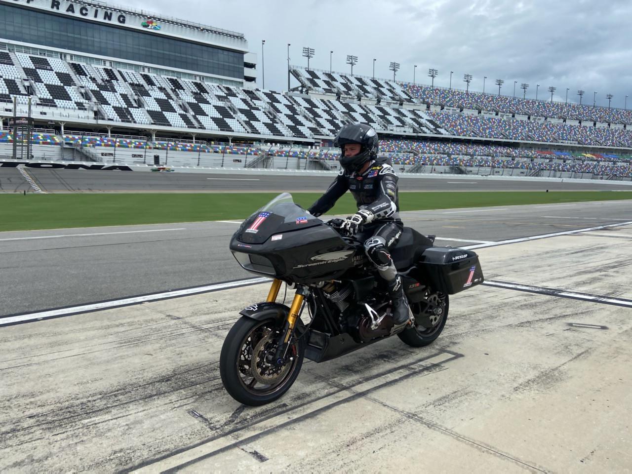 2021 MotoAmerica King Of The Baggers Champion Kyle Wyman heads out onto Daytona International Speedway Tuesday on his 165-horsepower, 630-pound Screamin' Eagle Harley-Davidson Road Glide racebike. Photo courtesy Kyle Wyman.