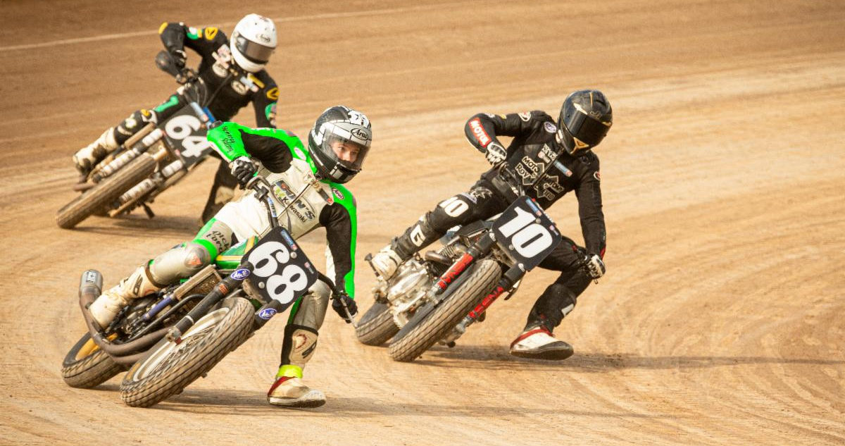 Royal Enfield's Johnny Lewis (10) racing for position with Ryan Varnes (68) and Danny Eslick (64) at the New York Short Track. Photo courtesy Royal Enfield North America.