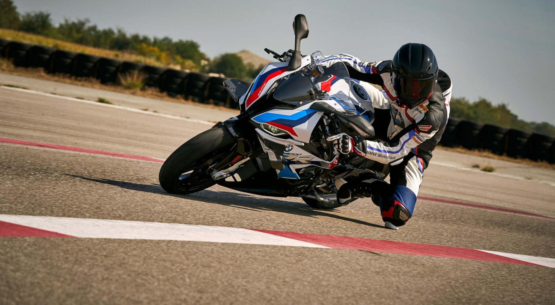 A BMW M 1000 RR at speed on a racetrack. Photo courtesy BMW Motorrad USA.