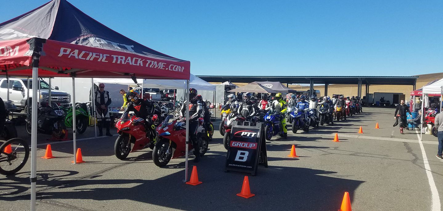Riders prepare to go out on track during a Pacific Track Time track day at Thunderhill Raceway Park. Photo courtesy Pacific Track Time.