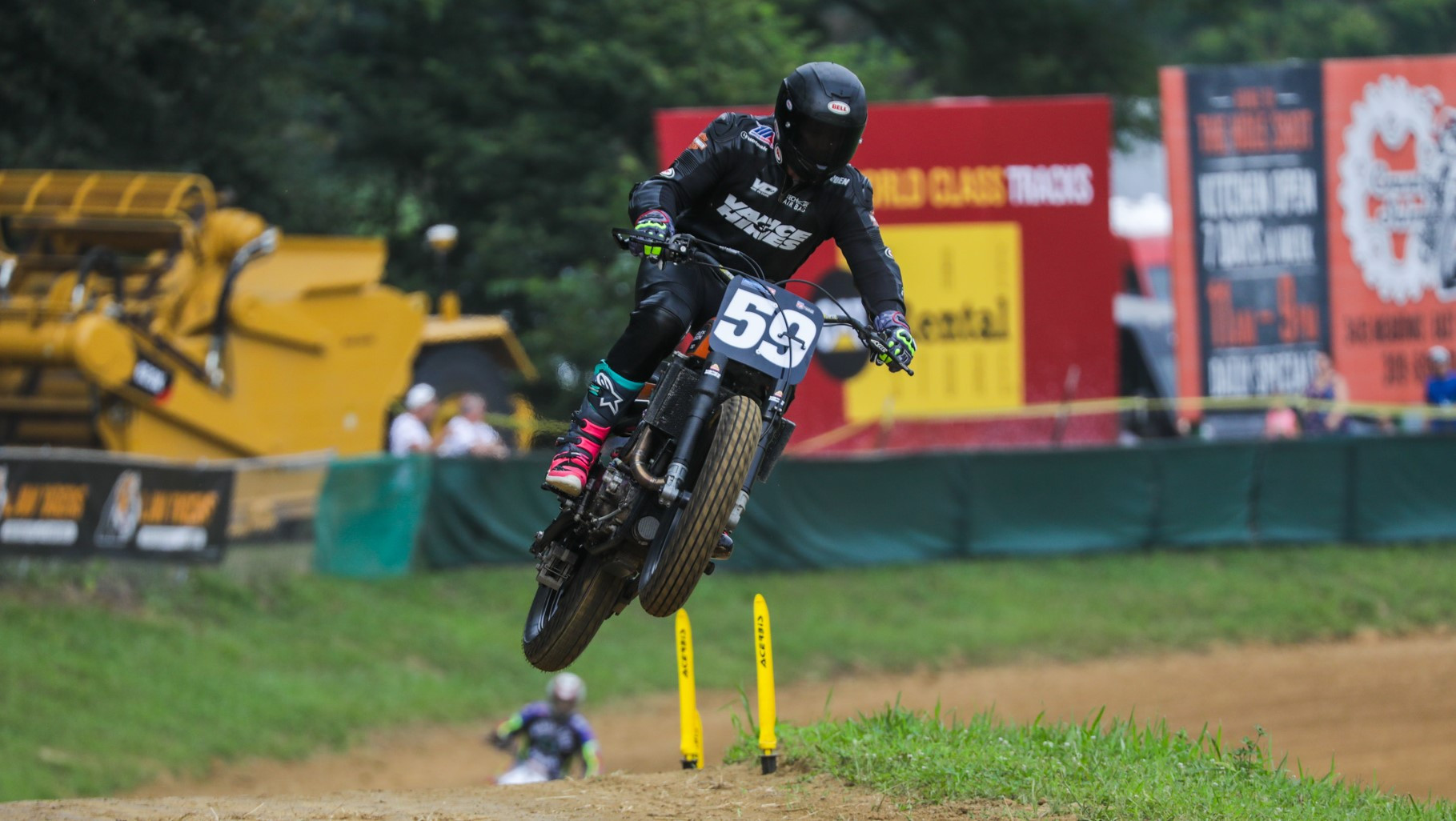 Hayden Gillim (59) in action on a Vance & Hines-backed Harley-Davidson at the Peoria TT. Photo by Scott Hunter, courtesy AFT.