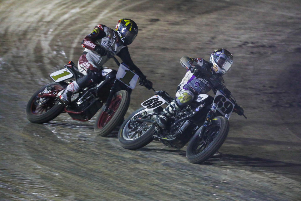 Sammy Halbert (69) leads Briar Bauman (1) in the Mission AFT SuperTwins main event at New York Short Track I. Photo courtesy AFT.