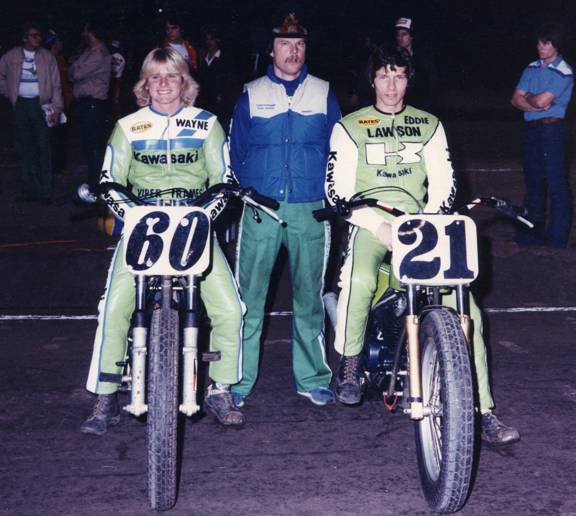 Steve Johnson (center) with Wayne Rainey (left) and Eddie Lawson (right). Photo courtesy Trailblazers.