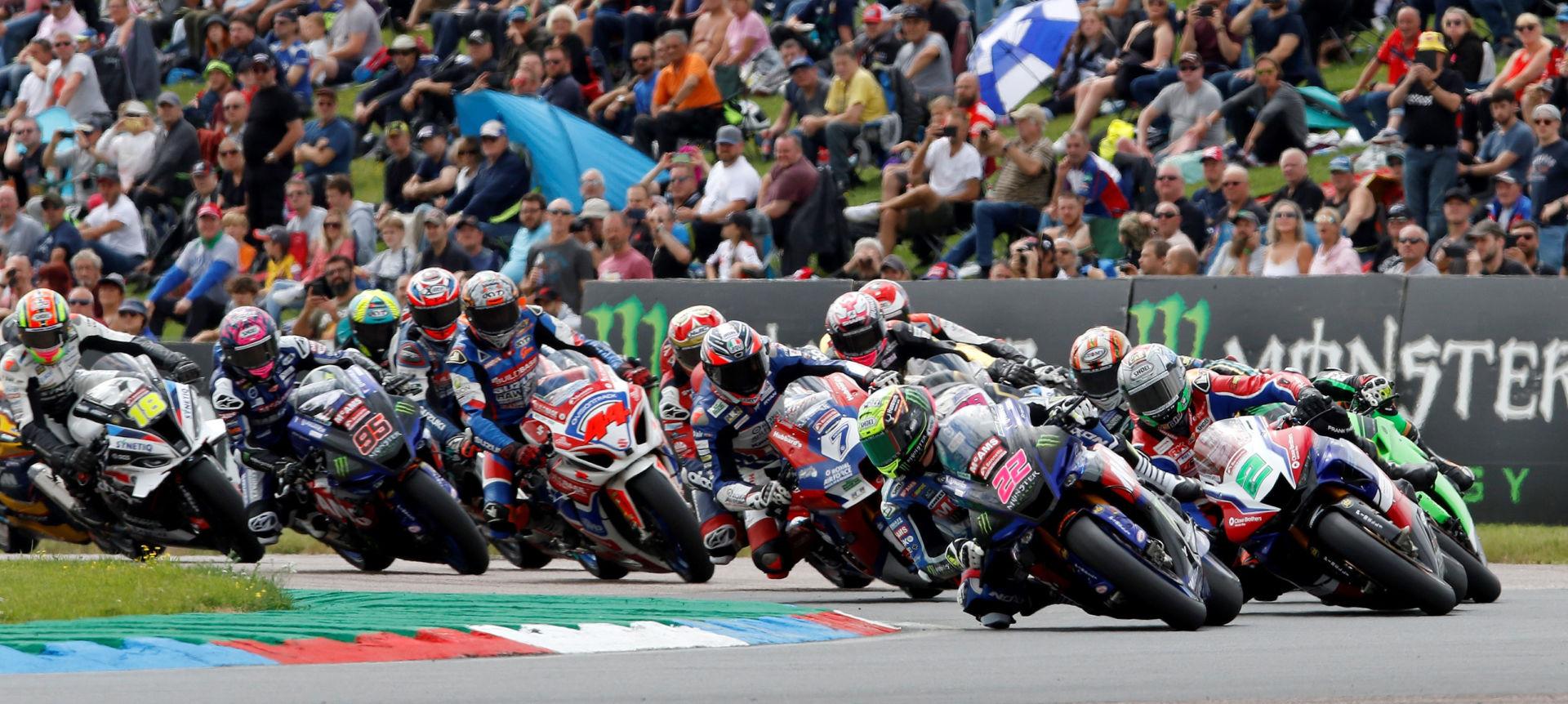 Jason O'Halloran (22) leads a British Superbike race start Sunday at Thruxton Circuit. Photo courtesy MotorSport Vision Racing.
