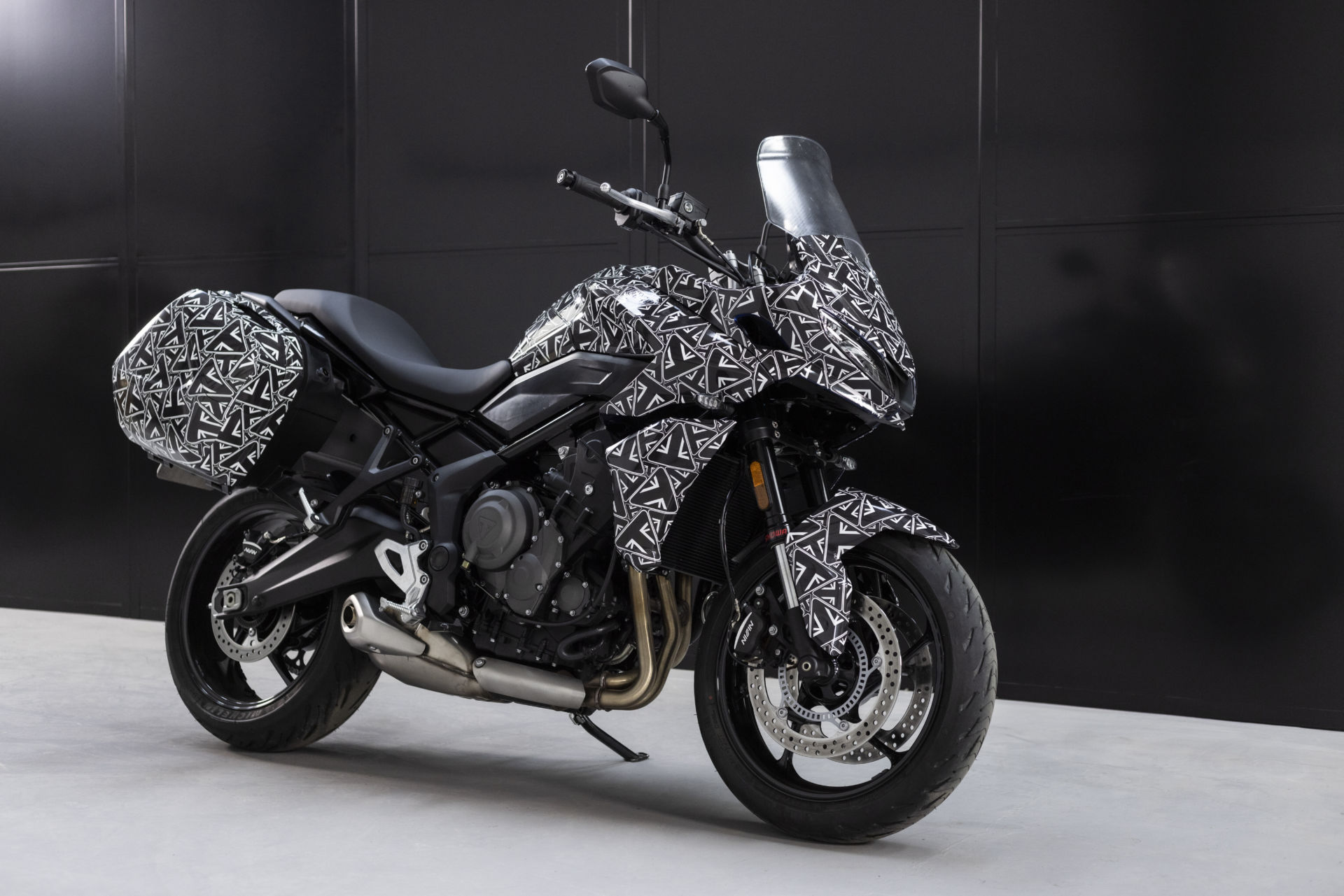 A Triumph Tiger Sport 660 prototype fitted with side cases. Photo courtesy Triumph.