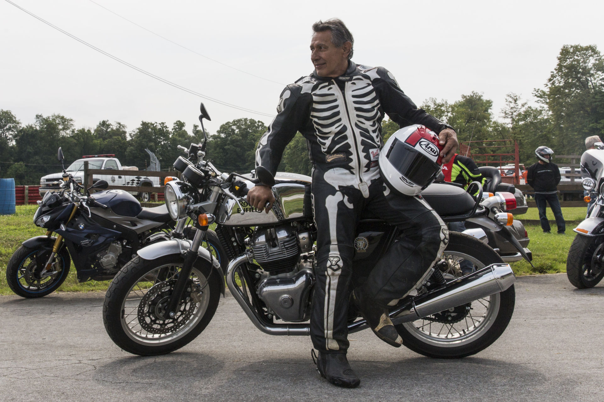 AMA Motorcycle Hall of Famer David Aldana sporting his iconic skeleton leathers prior to the Lap for History at 2021 AMA Vintage Motorcycle Days, presented by Royal Enfield. Photo by Lindsay Jordan, courtesy AMA.