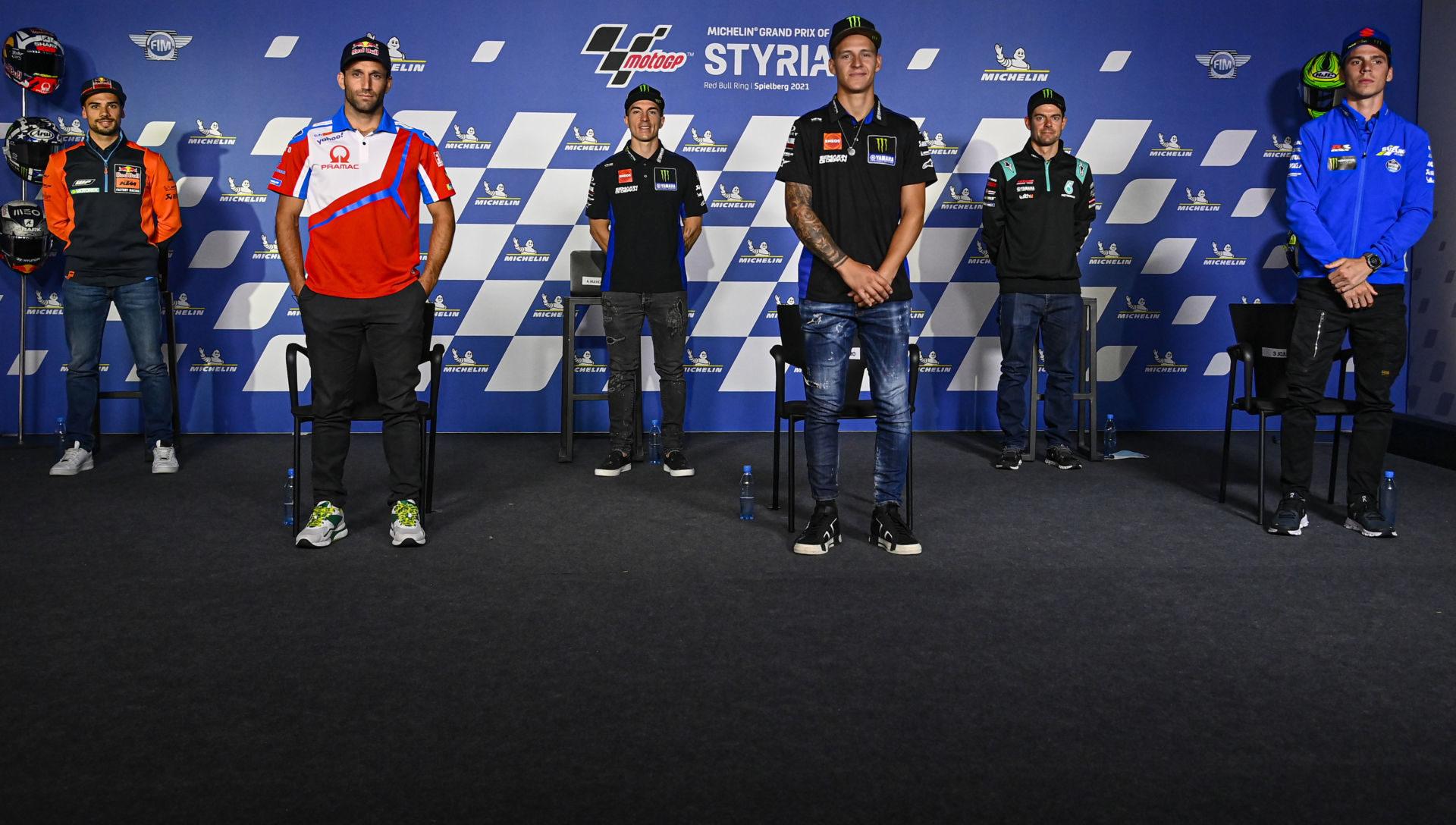 MotoGP racers (from left): Miguel Oliveira, Johann Zarco, Maverick Vinales, Fabio Quartararo, Cal Crutchlow, and Joan Mir at the pre-event press conference in Austria. Photo courtesy Dorna.