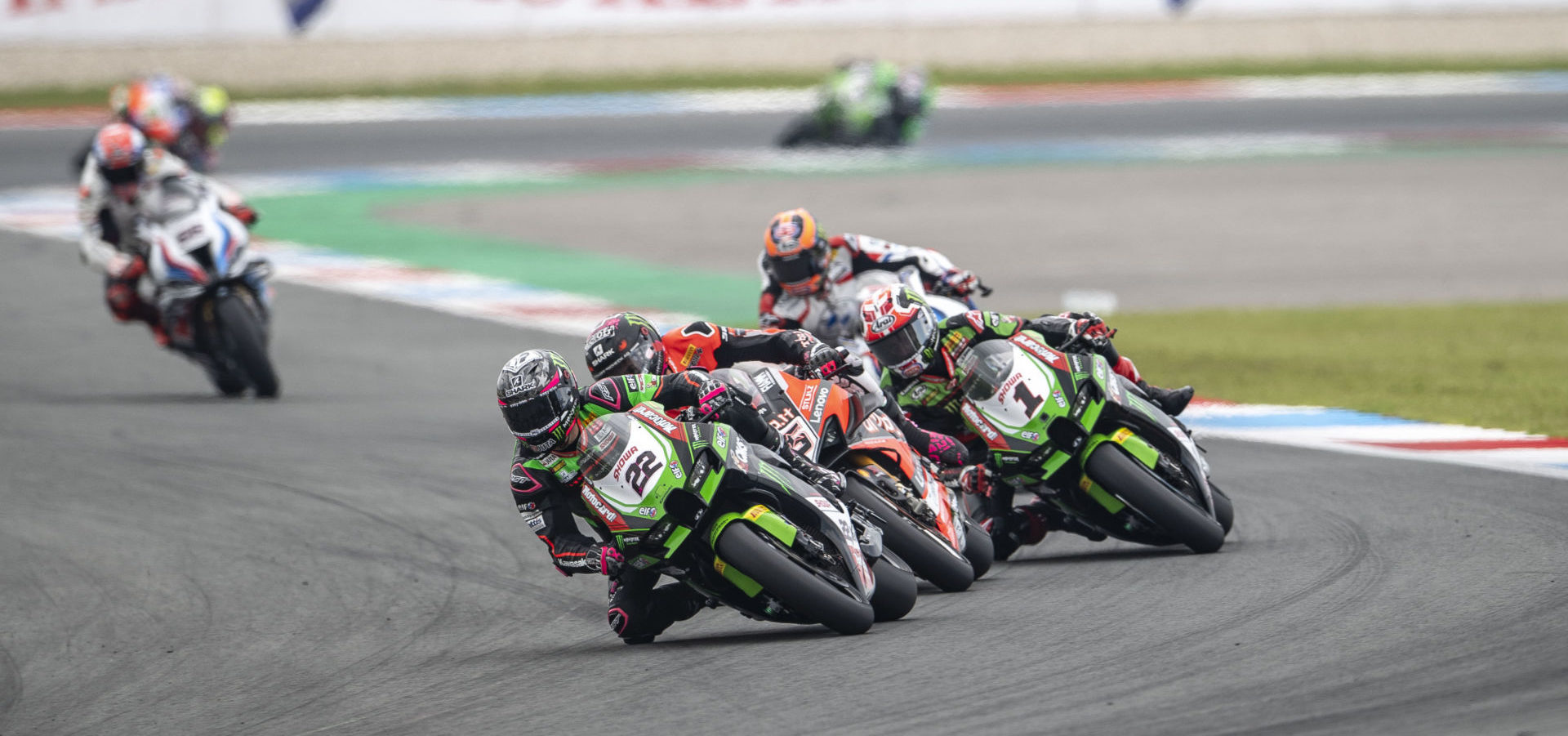 Alex Lowes (22) leads Scott Redding (behind Lowes), Jonathan Rea (1), Michael van der Mark (behind Rea), and the rest of the World Superbike field at Assen. Photo courtesy Kawasaki.