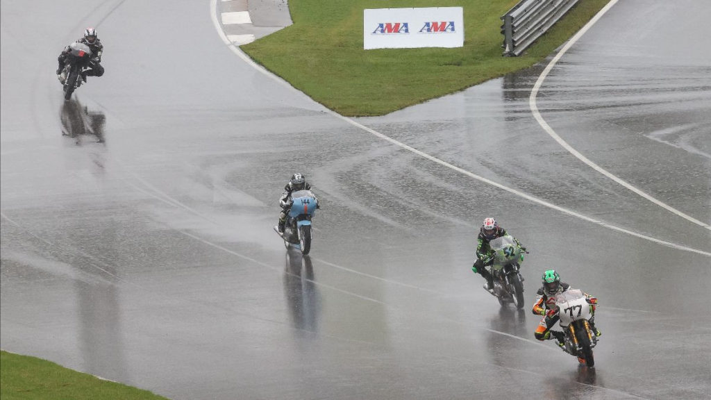 CJ Lukacs (77) kept her perfect win record intact in the Royal Enfield Build. Train. Race. program with a victory over Kayla Theisler (52) and Trisha Dahl (44) on Sunday. Photo by Brian J. Nelson, courtesy MotoAmerica.