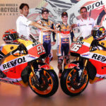Team Manager Alberto Puig (right) is shown at the 2018 Repsol Honda MotoGP team presentation, with (from left) HRC's Tetshiro Kuwata, Marc Marquez, and Dani Pedrosa. Photo by DPPI.