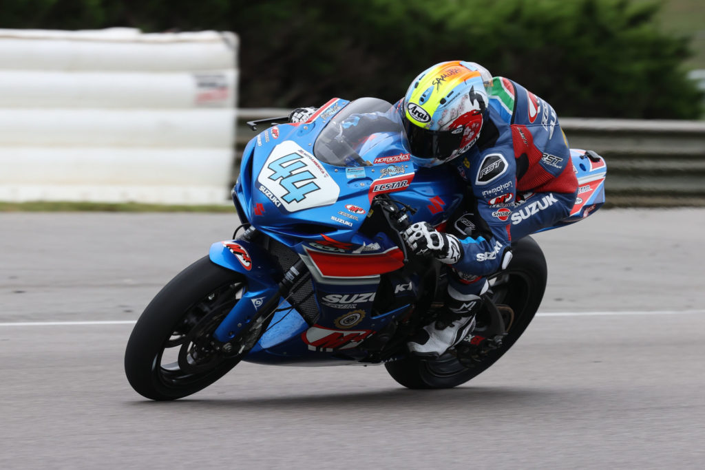 Sam Lochoff (44) continued his run of strong performances claiming an impressive third-place finish in the Supersport Championship. Photo by Brian J. Nelson, courtesy Suzuki Motor USA, LLC.