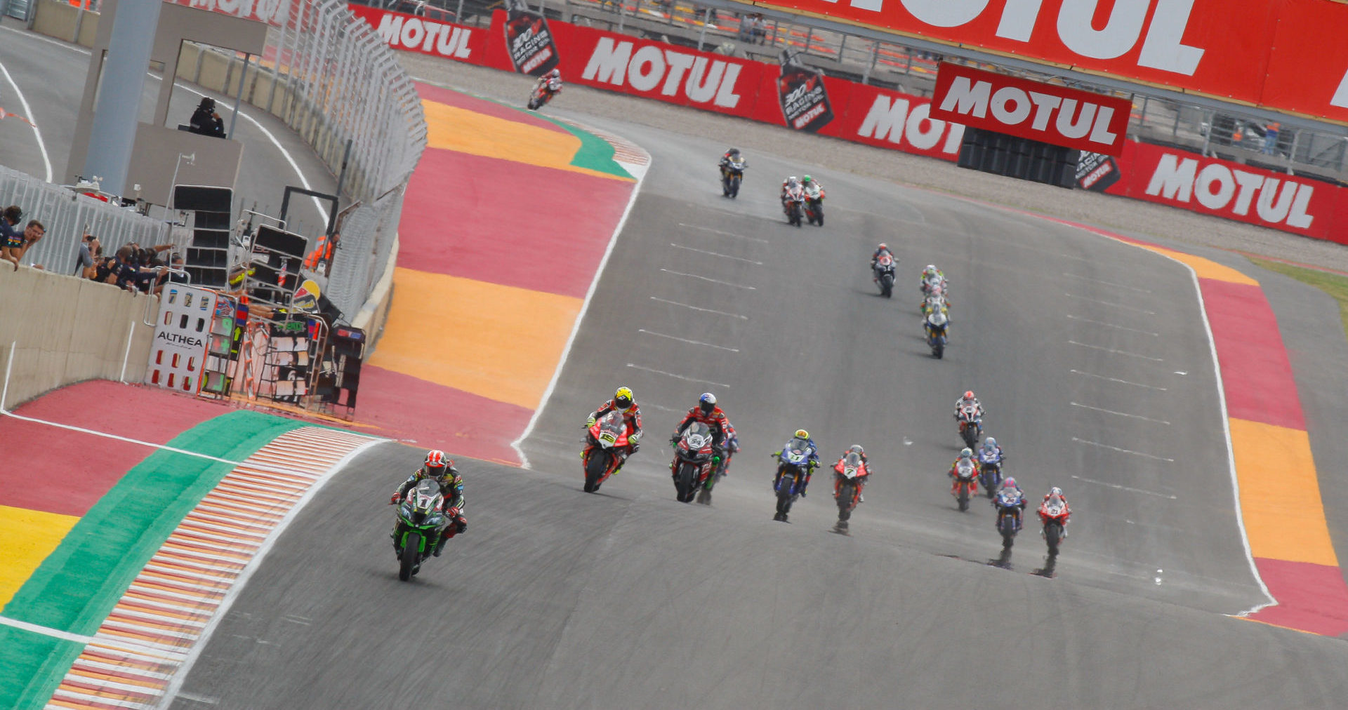 Jonathan Rea (1) leads a World Superbike race at Argentina's Circuito San Juan Villicum in 2019, the last time the FIM Superbike World Championship raced there. Photo courtesy Dorna.