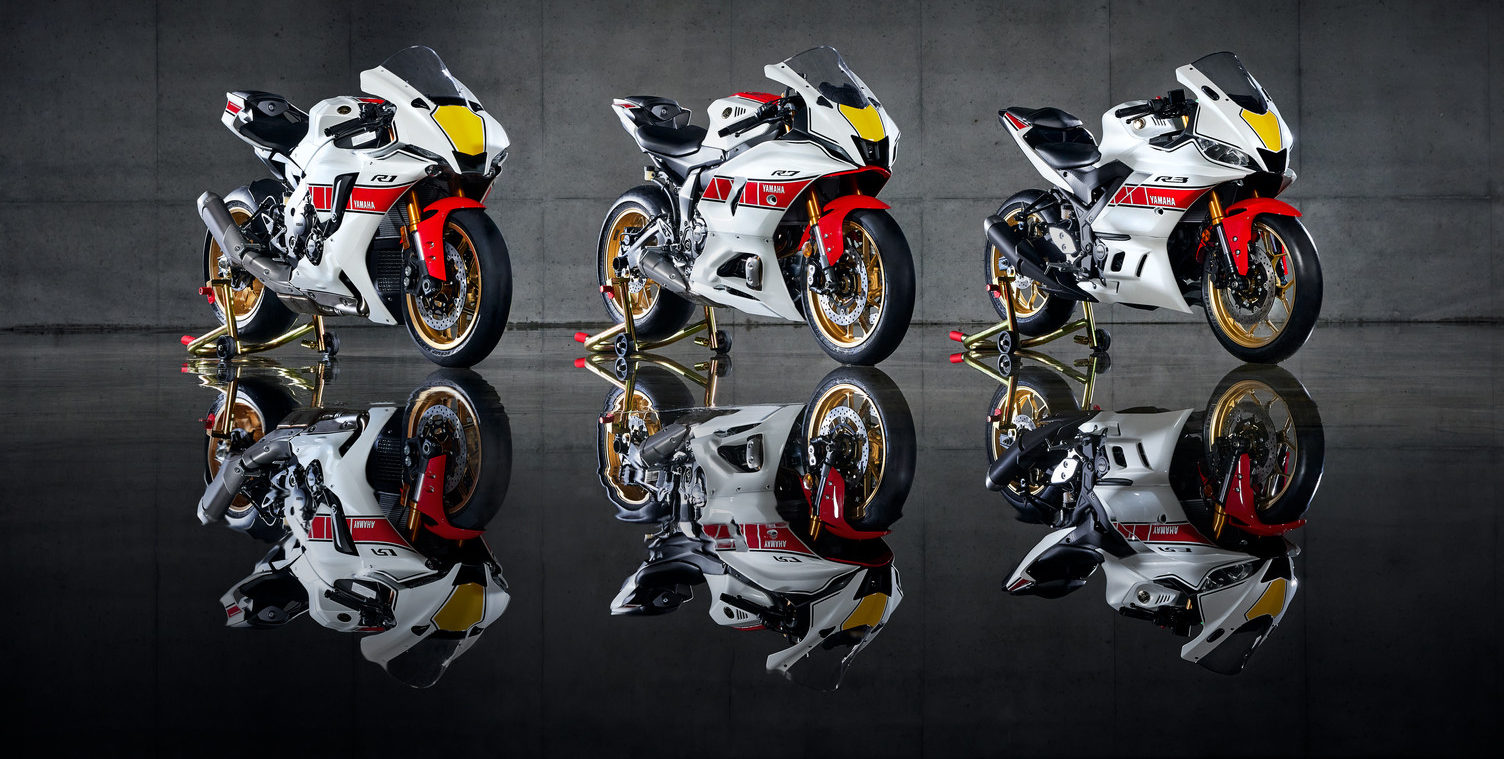 Yamaha's 2022 60th Grand Prix Anniversary Edition Supersport models (from left): YZF-R1, YZF-R7, and YZF-R3. Photo courtesy Yamaha.