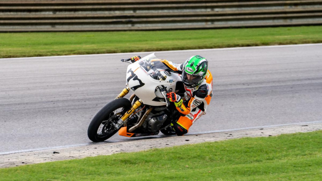CJ Lukacs (77) at speed. Road Race series. Photo courtesy Royal Enfield North America.