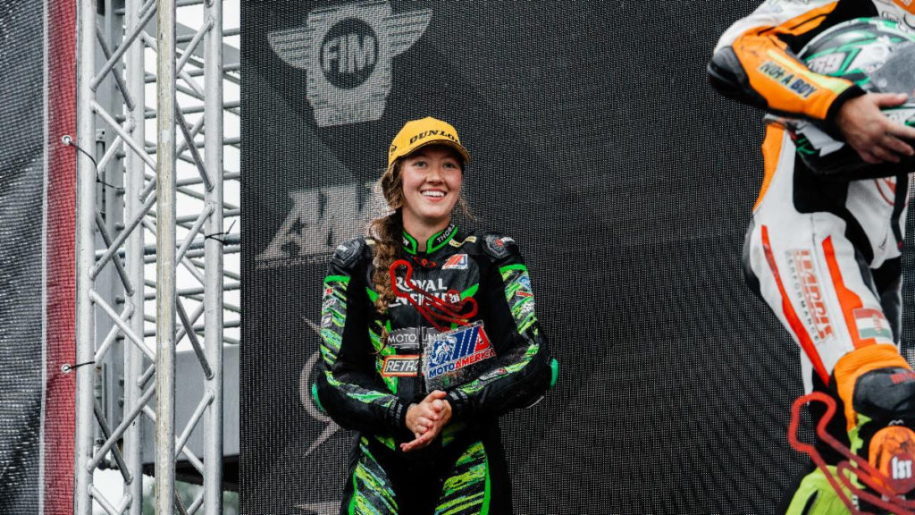 Kayla Theisler was thrilled to get her first podium finish of the season at her favorite track. It might have been a win if she hadn't run out of time. Photo courtesy Royal Enfield North America.