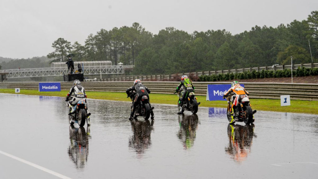 Down to a four-rider field after rain delays left Sunday's program in doubt (and several team members having to head to the airport), the Royal Enfield BTR race finally got underway. Photo courtesy Royal Enfield North America.